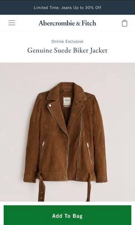 Abercrombie & Fitch Genuine suede biker jacket