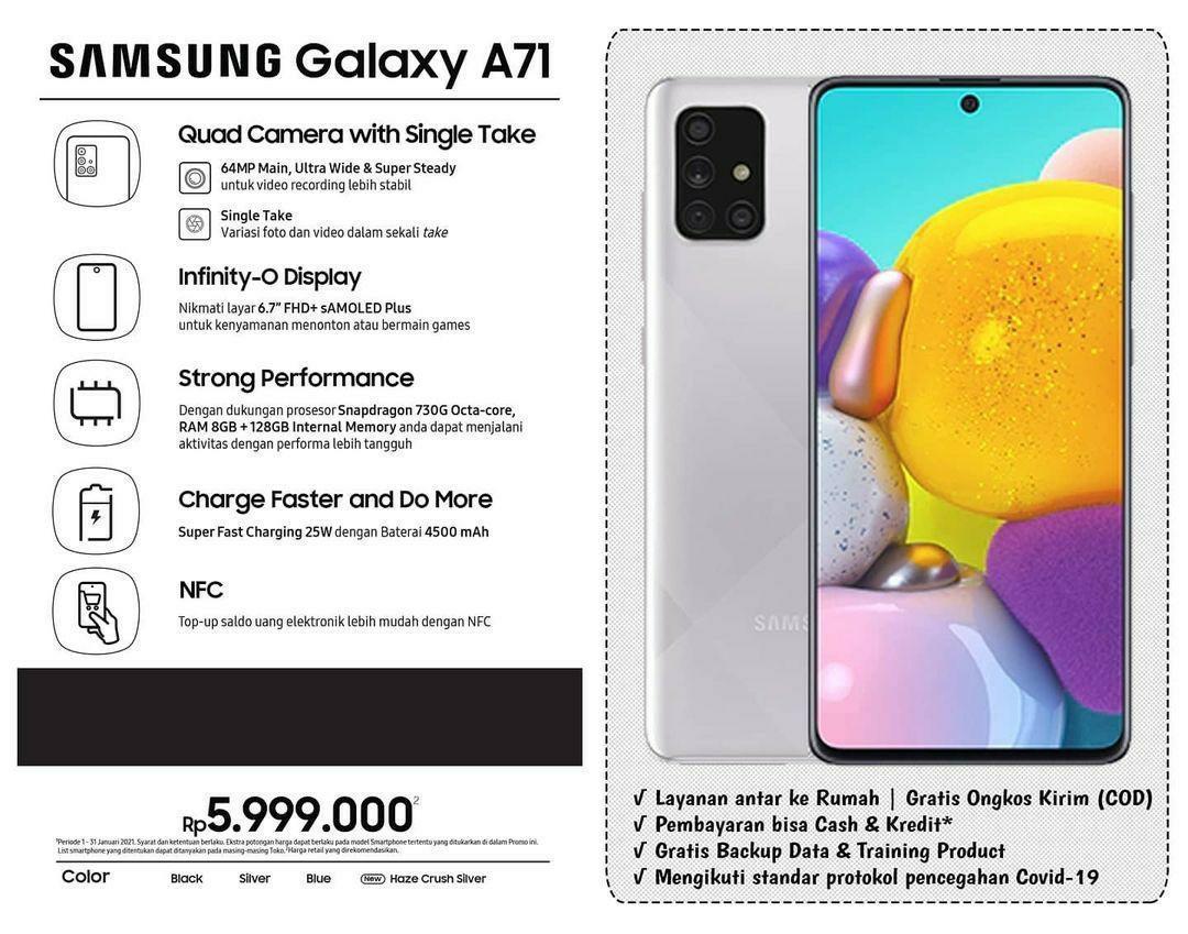 Kredit Tnpa CC Prses 3 Mnit Acc Samsung A71 ram 8/128 gb