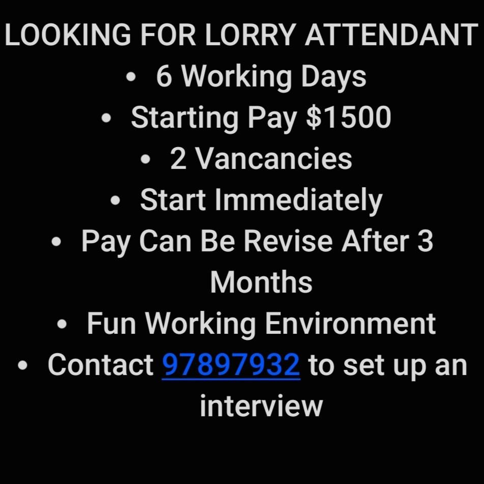 Lorry Attendant for class 4 Lorry