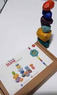 Mainan Edukatif Wooden Stacking Stones