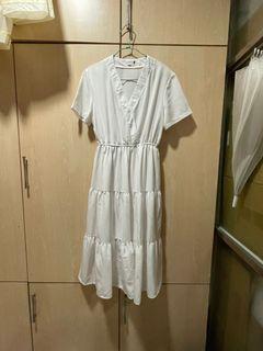 韓版-渡假風V領蛋糕裙白色收腰短袖洋裝 素色 小清新 溫柔少女款