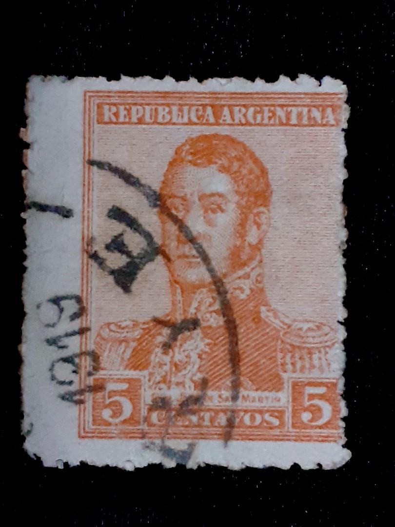 1919 Argentina Jeneral Jose De San Martin 5c used stamp