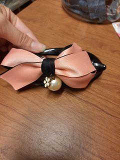 蝴蝶結珍珠髮夾