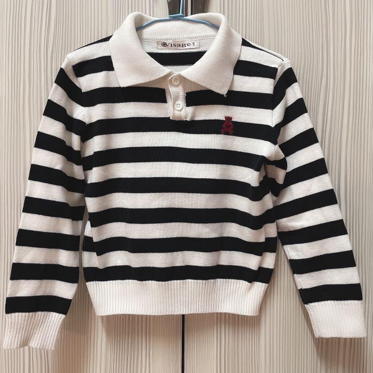 兒童條紋長袖帶領棉質上衣 二手九成新