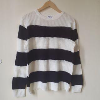 Knit Strip Black White Top Sweater
