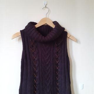 Premium Korean Turtleneck Cable Knit Vest Top Warna Coffee