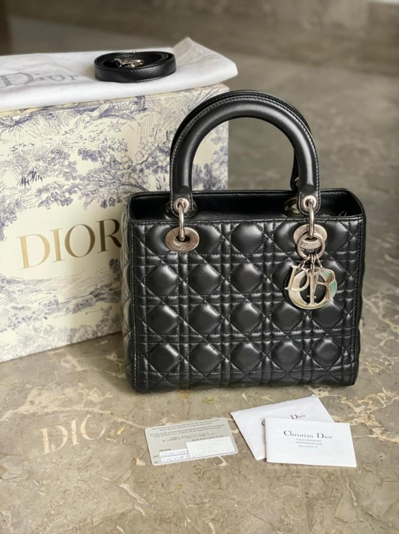 LD Medium Black SHW #2014, with box, strap, dustbag, booklet, stamp card