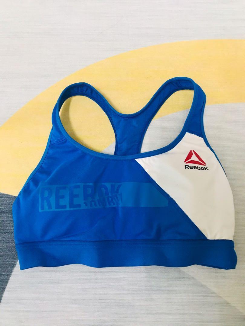 「免運」Reebok藍白運動內衣S號