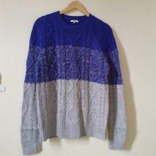 Polham Two Tone Cable Knit Sweater Premium