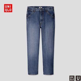 UNIQLO U 男裝 寬版牛仔褲刷白丹寧硬挺重磅 W31 425818 近全新 UUUU