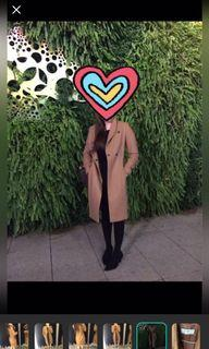 Zara奶茶色羊毛大衣外套