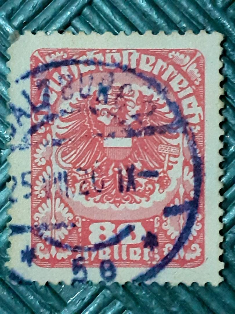 1920 Austria-Hungary Coat of arms 80H used stamp