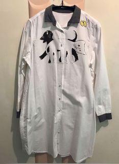 [全新]日貨!日本插畫家手繪貓咪長版襯衫 精緻刺繡