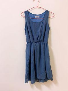 ❤️ 雪紡霧藍無袖連身裙 全新