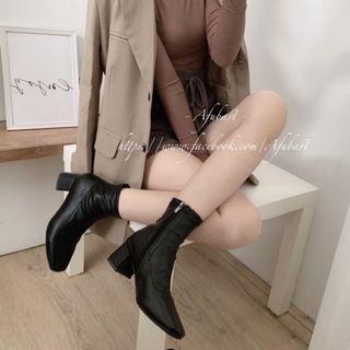 方頭彈性貼腿皮質短靴 粗根 中跟 短靴 襪靴👢