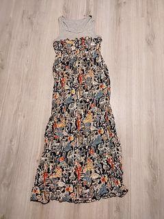 假兩件 長洋裝 圖騰 連身裙 長裙洋裝