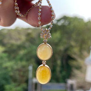 天然A貨緬甸翡翠18 K金鑽石鑲嵌黃翡墜子(付證書)
