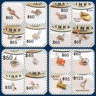 Authentic Links of London Sterling Silver Charms/ Pendants