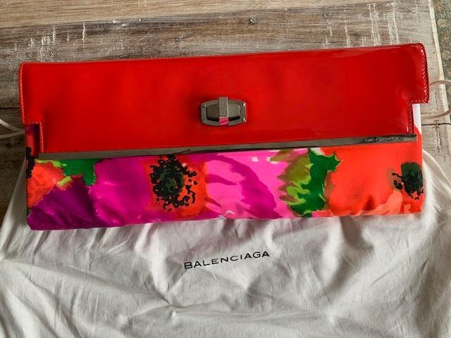 Balenciaga Satin & Patent Leather Floral Clutch on Sale!!