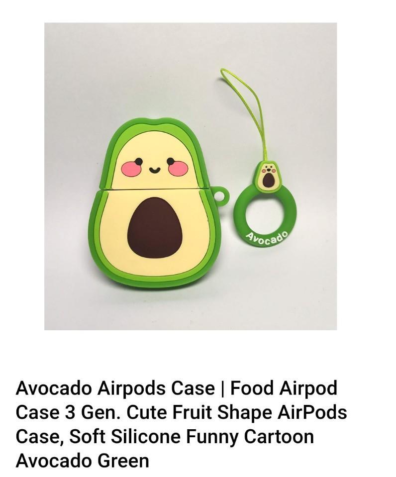 DEliA, Avocado Airpods Case/ Cute Soft Silicone Funny Cartoon Avocado Green