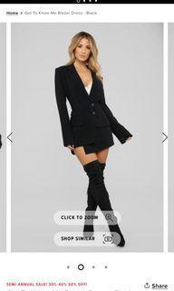 Fashion nova blazer dress XS get to know me