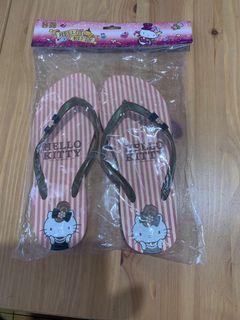 Hello kitty 夾腳拖鞋粉紅線條