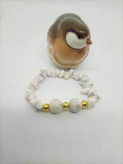 Howlite with non tarnish gold spacers