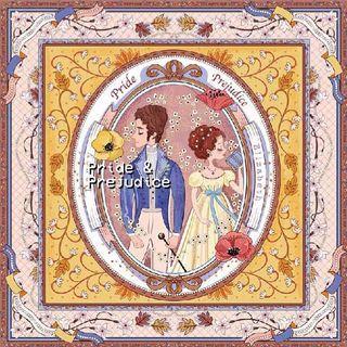 NWT✨ Zoe Land Pride & Prejudice Inspired 100% Silk Square Scarf 90cm