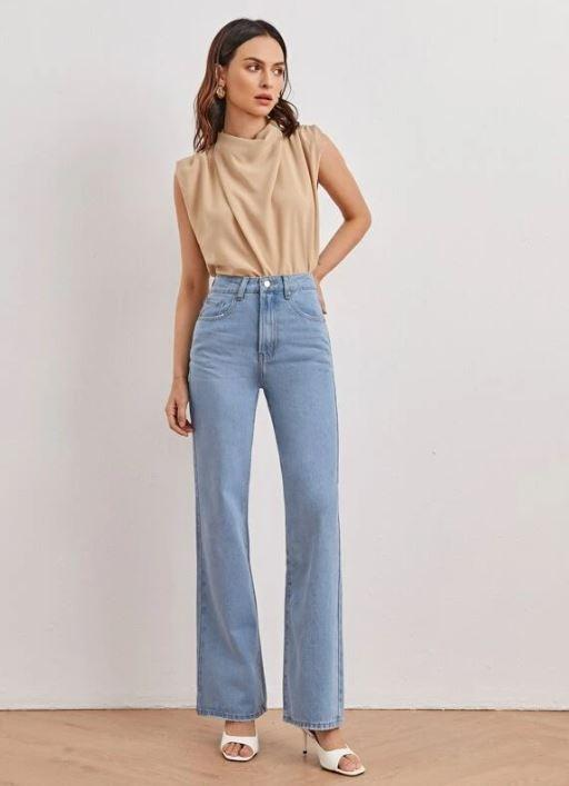 high waisted straight long jeans