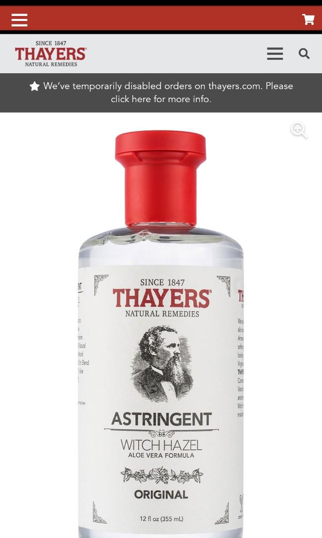 Thayers Witch Hazel Astringent Original 355mL
