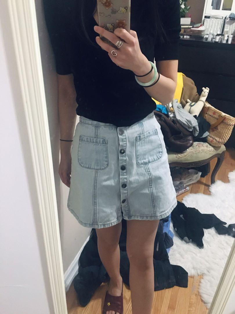 UO button up denim skirt