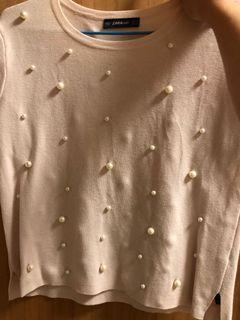 Zara 淡粉色珍珠針織上衣 狀況新