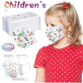 50 PCS Kids Mask 3 PLY Disposable Protective Face Mask FDA CE Face Mask Disposable 3-Ply Layered Protection Anti-droplets Face Mask for Kids High Quality Safe and Effective