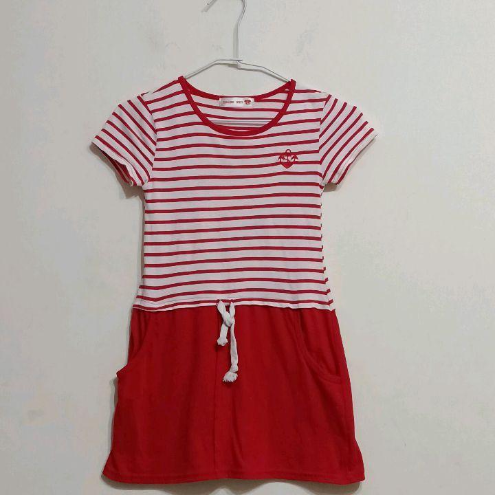 15碼紅白條紋洋裝$35