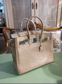 真皮35公分大型,鴕鳥立體壓紋凱莉包鉑金包,容量超大大型購物袋手提包,邊油瑕疵出清品(二層牛皮)