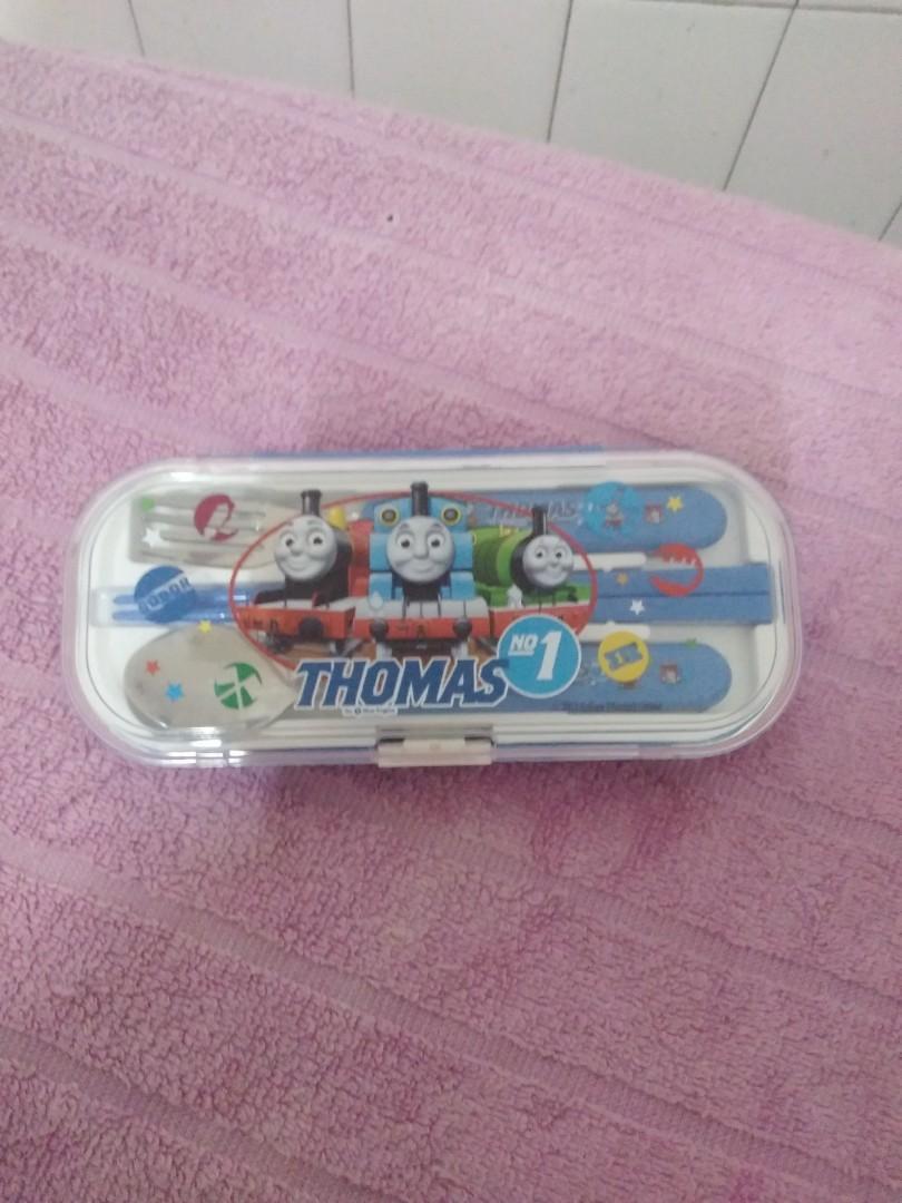 """全新正版""""湯姆士小火車''兒童外出攜帶餐具。"""