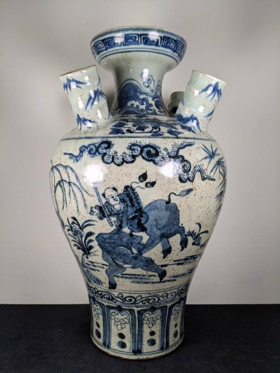 早期收藏瓷器 牧童騎牛圖 青花陶瓷瓶