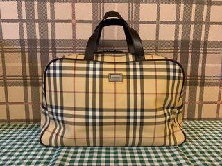 真品Burberry 經典格紋大手提包公事包小行李袋