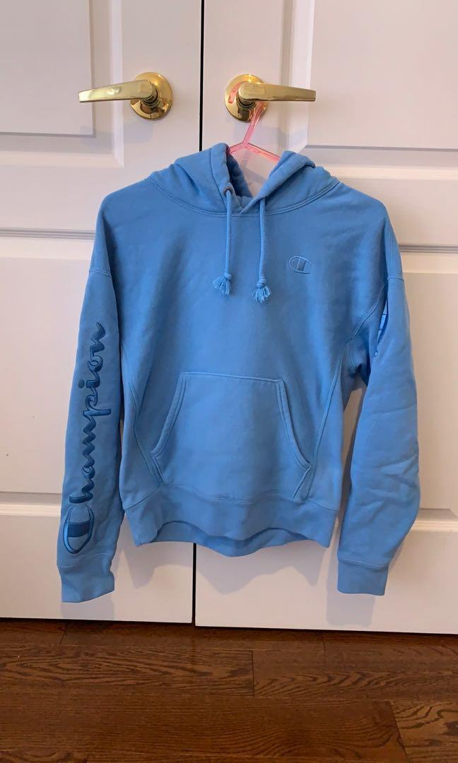 Champion blue reverse weave embroidered hoodie