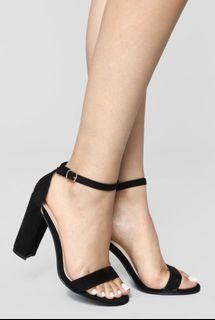 Fashion Nova Black Suede Heels
