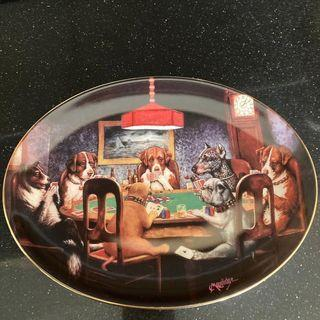 """FRANKLIN MINT decorative plate """"An Ace in the Hole"""" BROWN & BIGELOW Puppy dog play poker game 裝飾陶瓷碟"""
