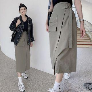 Lulus自訂款軍綠側腰帶開衩長裙/工裝裙-F