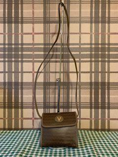 國際精品真品Mario Valentino經典花紋老花小斜背包側背包