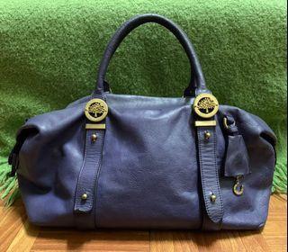 正品mulberry 深紫色全真皮手提包側背包