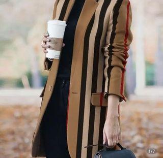 Striped Woolen Coat
