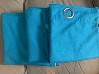 Turquoise 3-panel curtain