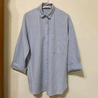 Zara大口袋寬鬆長版襯衫 藍白條紋襯衫 寬袖造型開叉襯衫 XS