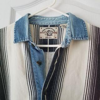 90s Denim Collar Long Sleeve Shirt