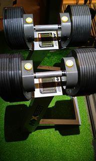 Adjustable dumbbells with rack