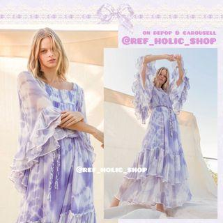 fillyboo Love Street Kimono Hand Tie Dyed Maxi Dress in Lilac   Crinkled Chiffon